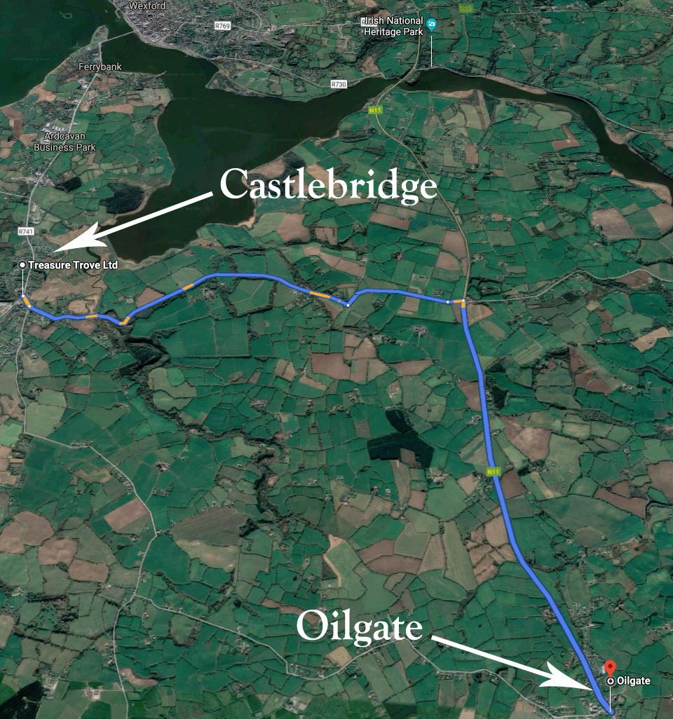 Oilgate to Castlebridge Map